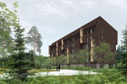 Lintuviita 2 valmiina arkkitehtikuvissa. Rakennus tosin valmistuu ennen kun puut vihertävät seuraavan kerran kuten tässä.  Lähde: Puuinfo